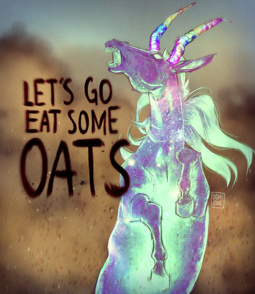 """A spectral binicorn (horse with two horns instead of one) rearing up, saying, """"Let's go eat some oats!"""""""