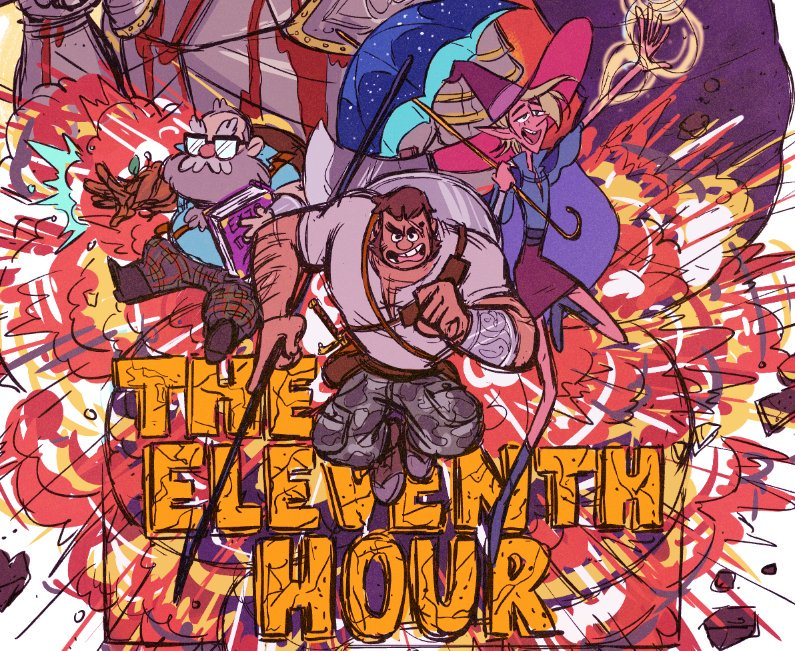 """Merle, Magnus, and Taako superimposed over the title of the arc, """"The Eleventh Hour"""""""