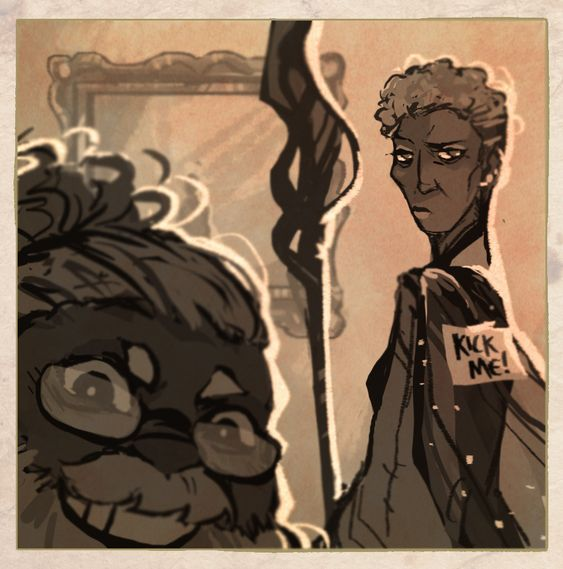 Merle takes a selfie as Lucretia glares at him for sticking a kick me sticker on her back