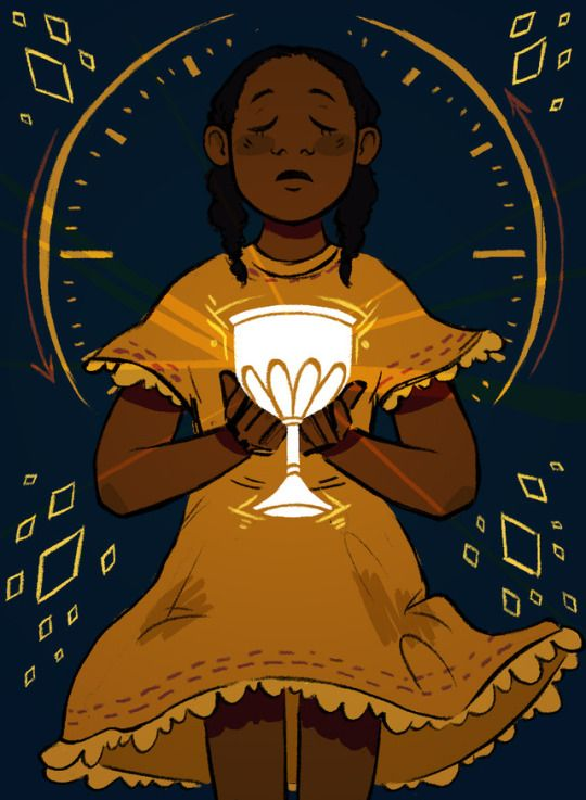 With her eyes closed, June (Junebug) stands behind a clock face, holding the chalice with both hands