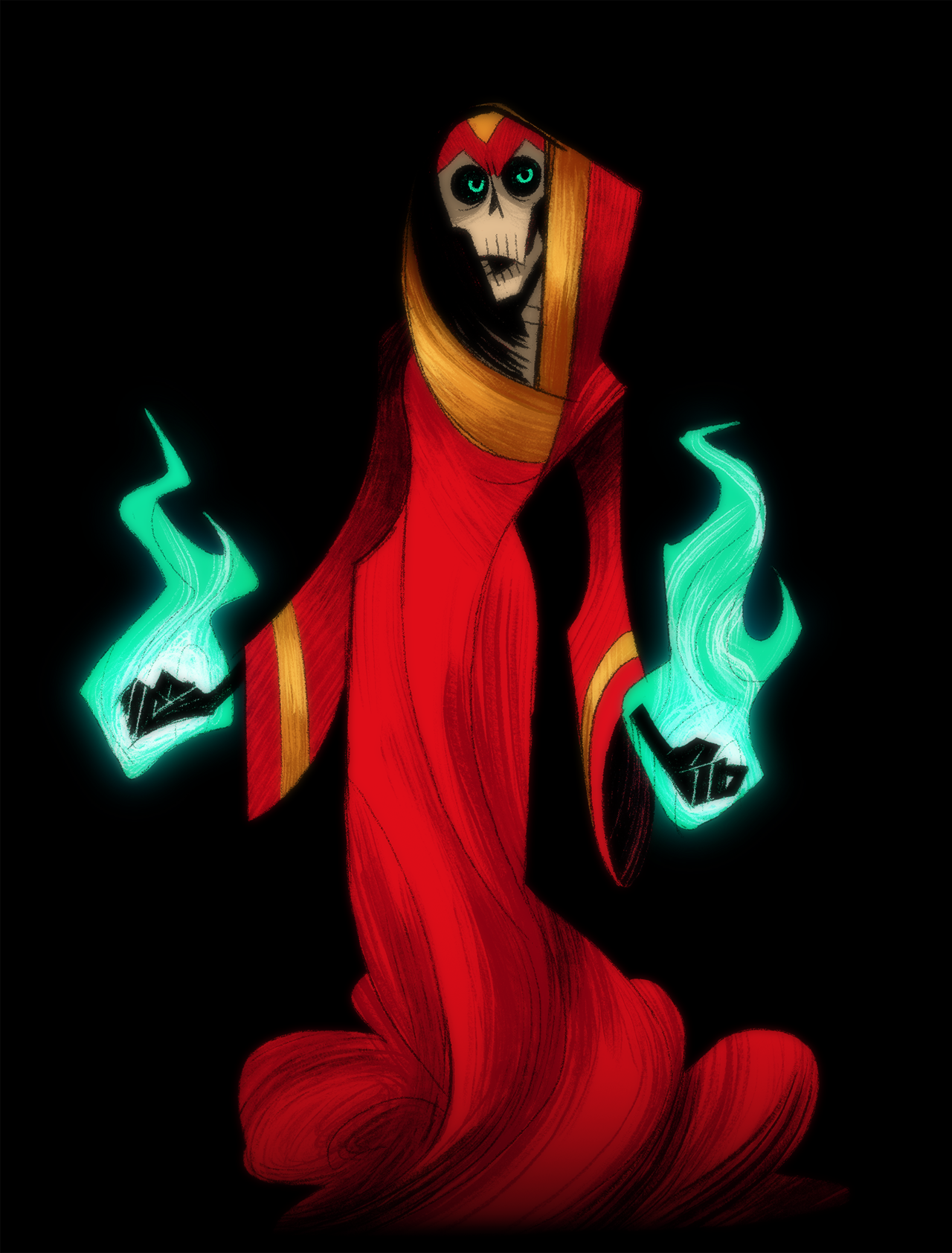 Lup in her lich form stands with green-blue flames engulfing her hands