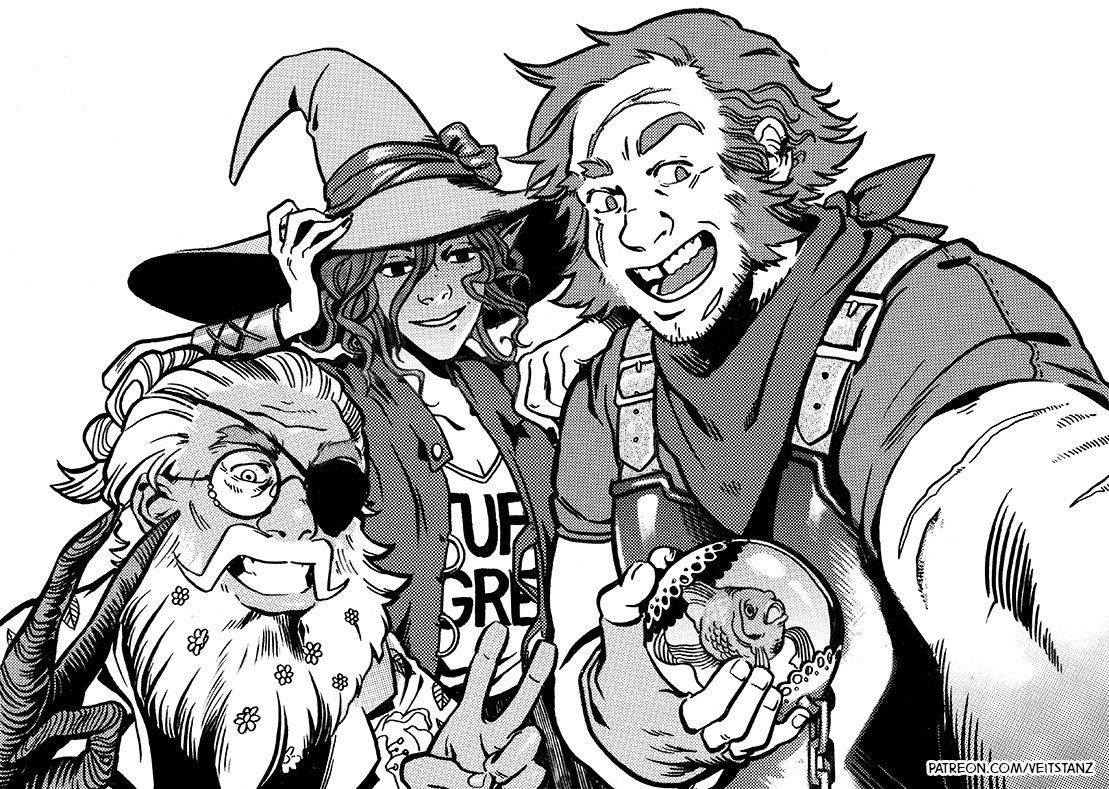 Merle, Taako, and Magnus (holding Steven the goldfish) pose for a selfie