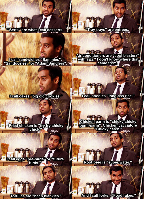"""Tom Haverford, a man of Indian descent wearing a black suit jacket and tie and white button down shirt, is sitting in front of a wildlife wallpaper. He states the following: """"Serts"""" are what I call desserts. """"Tray trays"""" are entrees. I call sandwiches """"sammies,"""" """"sandoozles,"""" or """"Adam Sandlers."""" Air conditioners are """"cool blasterz"""" with a """"z."""" I don't know where that came from. I call cakes """"big old cookies."""" I call noodles """"long ass rice."""" Fried chicken is """"fry fry chicky chick."""" Chicken parm is """"chicky-chicky parm-parm."""" Chicken cacciatore is """"chicky catch."""" I call eggs """"pre-birds"""" or """"future birds."""" Root beer is """"super water."""" Tortillas are """"bean blankies."""" And I call forks """"food rakes."""""""
